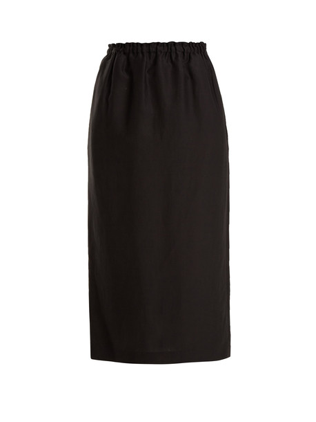 RAEY Elasticated-waist crepe pencil skirt in black
