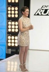 mini,alyssa milano,ivory dress,nude,nude dress,sleeveless,sleeveless dress,flowers,embellished,embellished dress,gold,sequins