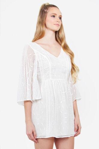 dress embroidered v neck white bikiniluxe
