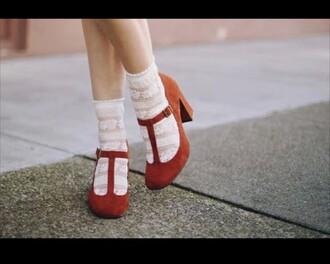 shoes socks lace vintage retro cute brown orange white