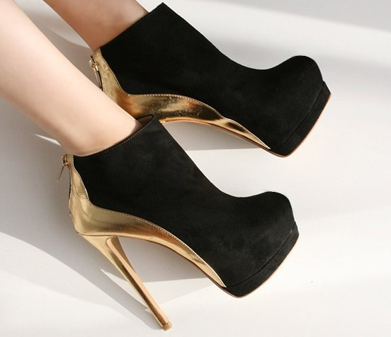 2013 New autumn designer fashion platform high heels women pumps boots sexy ankle booties black and gold size 35 39-inBoots from Shoes on Aliexpress.com