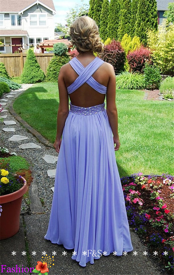 Backless Sexy Evening Gown Lavender Prom Dress by FashionStreets