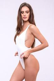 swimwear,skimpy coverage,dbrie swim,one piece,white,bikiniluxe