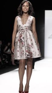 dress,kerry washington,a line dress,celebrity style,celebrity,runway,floral dress,satin dress,sleeveless dress,olivia pope,black girls killin it