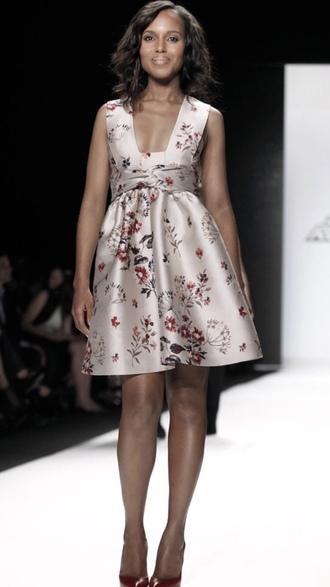 dress kerry washington a line dress celebrity style celebrity runway floral dress satin dress sleeveless dress olivia pope black girls killin it