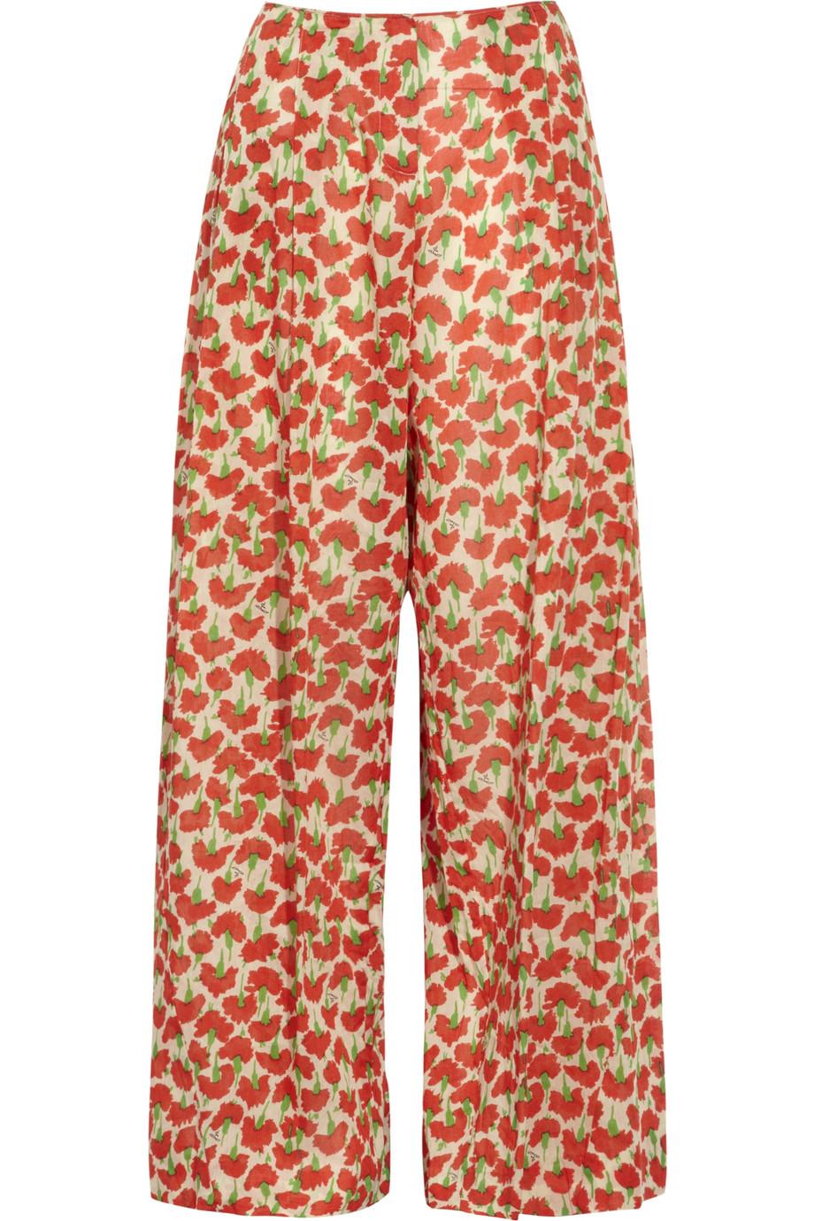 Discount Sonia Rykiel Wide-leg floral-print cotton pants|THE OUTNET