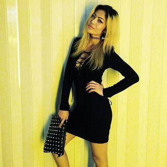 dress lace up black dress little black dress after party vintage nastygal