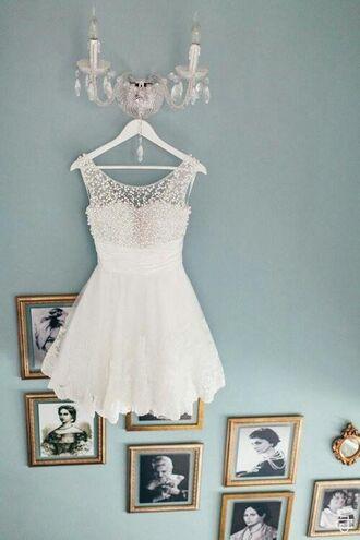 white dress beaded short dresses skater dress bridesmaid formal dress pearl