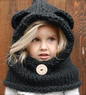 hat,knit,bear,kids fashion,grey