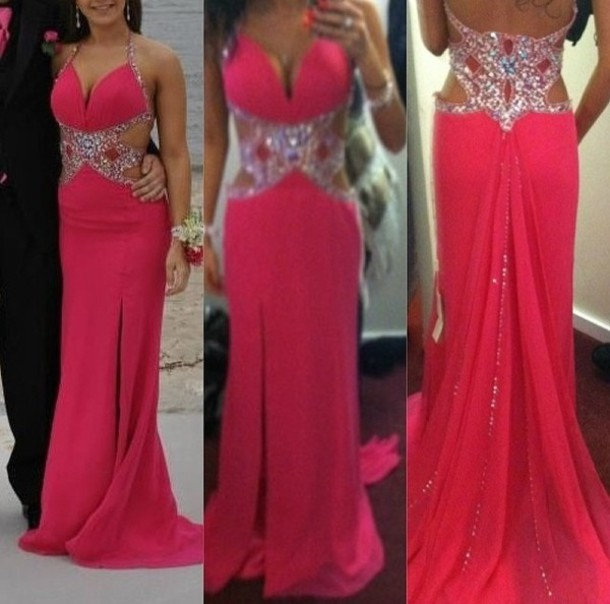 dress, hot pink prom dress, jaszcouture, long prom dress, cut-out ...