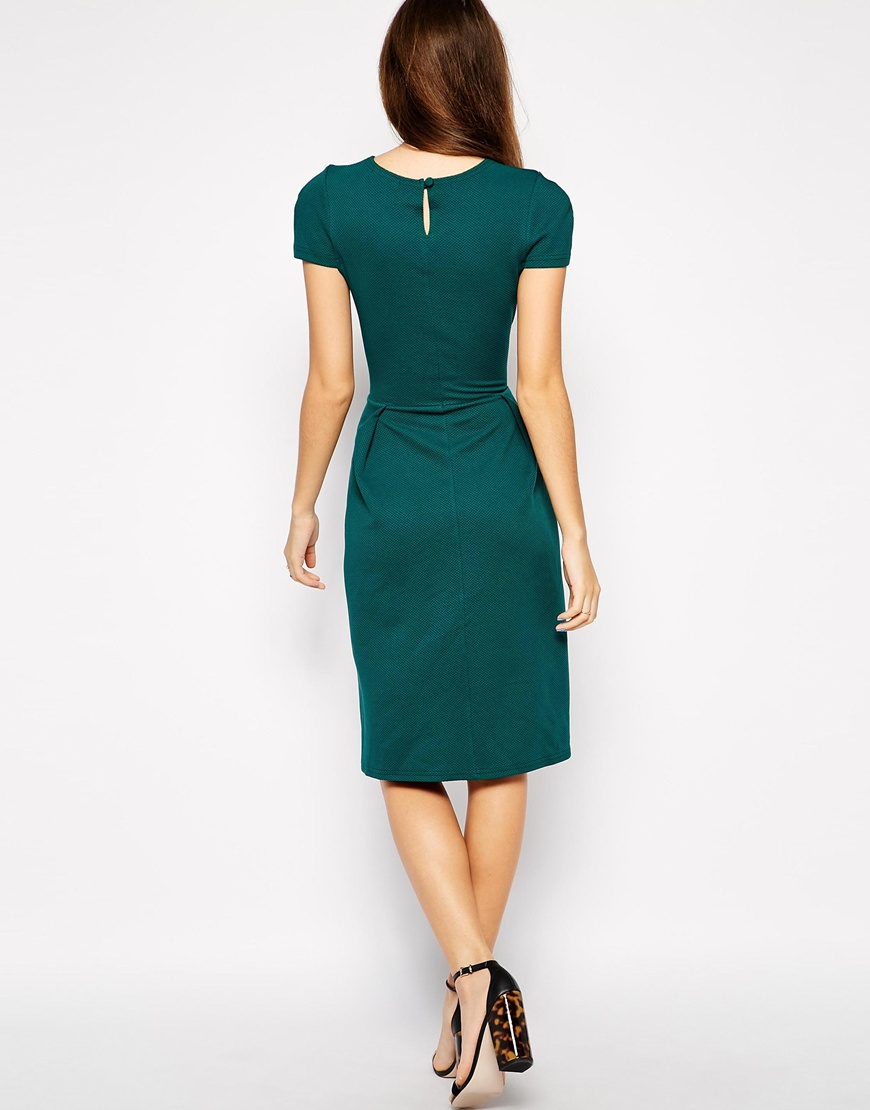 Love Textured Midi Dress with Pleat Detail at asos.com