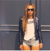blouse,shorts,top,denim,short,jeans,beyonce,jacket,black jacket,beyonce fashion,shirt,sunglasses