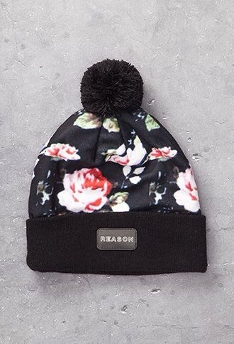 hat cute beanies graphic beanies hat beanies accessories style pom pom beanie roses fall outfits beanie floral black beanie hair accessory winter hat cute