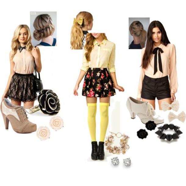 top cute dress shirt shorts skirt blouse shoes heels boots accessories