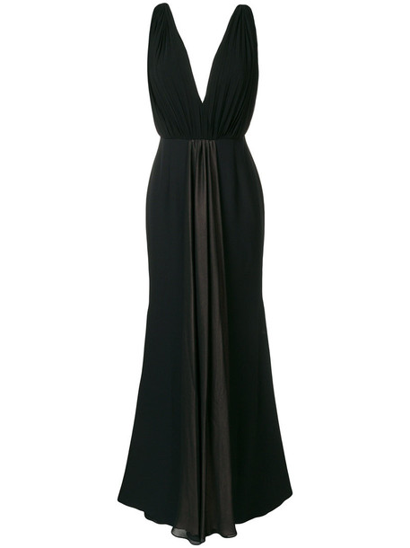 gown bow pleated back women spandex black silk dress