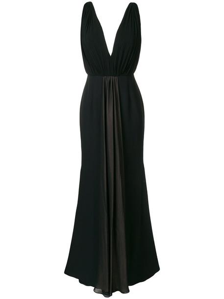 Francesco Paolo Salerno gown bow pleated back women spandex black silk dress