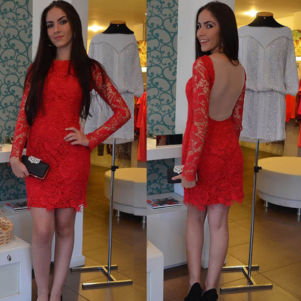Aliexpress.com : Buy Charming Long Sleeve Red Lace Short Prom Dresses 2016 See Through Back Mini Cocktail Party Dress For Graduation Vestidos from Reliable dress barn plus size dresses suppliers on Dream Wedding Bridal Boutique | Alibaba Group