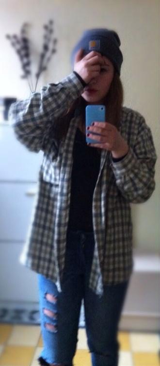 shirt grunge beannies jeans