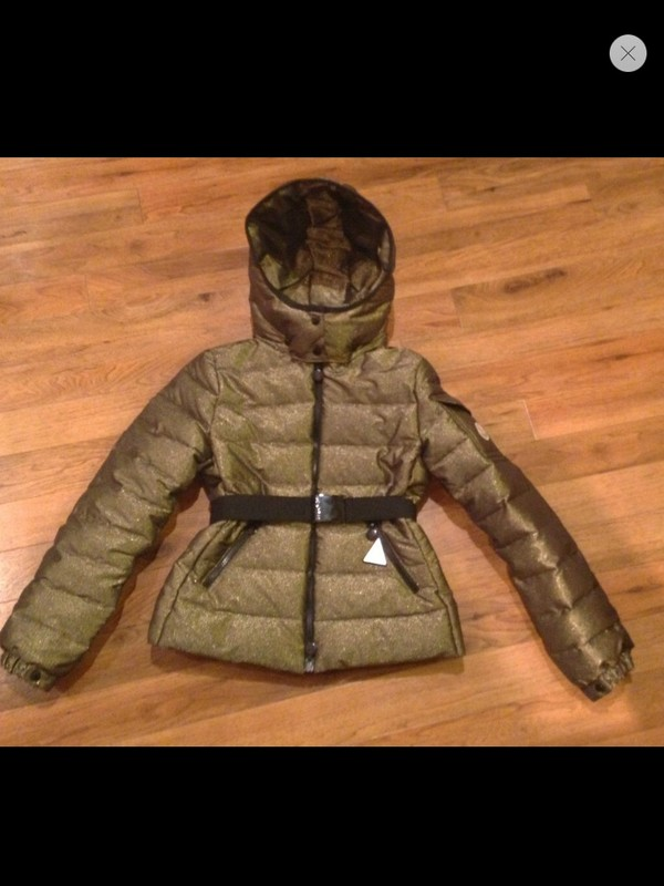 coat moncler jacket hooded down jacket down jacket belted coat belted jacket gold glitter winter sports