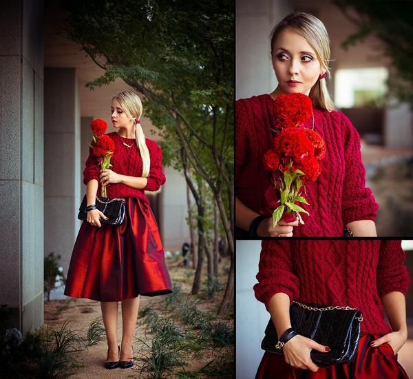 skirt red wine red midi skirt skater skirt full skirt Choies chicwish streetstyle