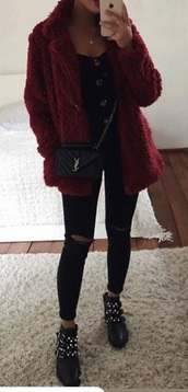 jacket,coat,red fluffy teddy coat