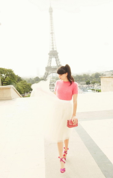 the cherry blossom girl bag skirt shoes sweater