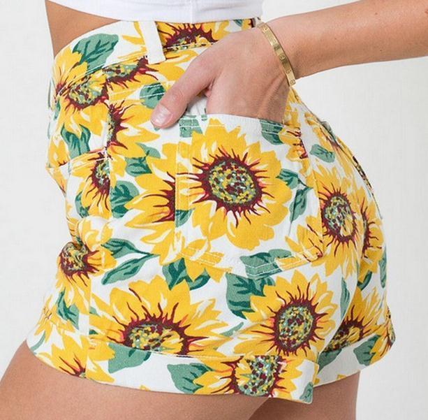 Cute sun flower high waist shorts and high waist skirt
