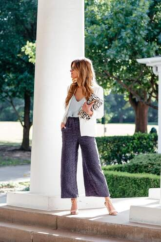 pants culote tumblr blue pants office outfits top camisole blazer white blazer sandals sandal heels high heel sandals jacket bag