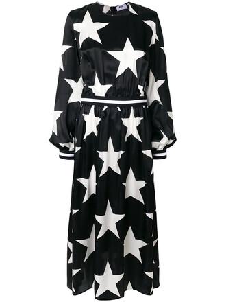 dress bell sleeve dress women print black silk