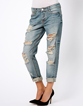 ASOS | ASOS Brady Low Rise Slim Boyfriend Jeans in Vintage Wash with Extreme Rips at ASOS