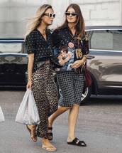 sunglasses,slide shoes,flip-flops,animal print,cropped pants,printed shirt,handbag