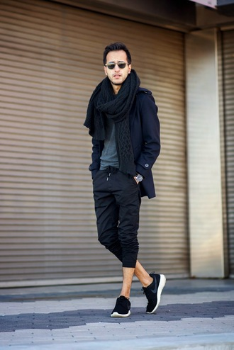the metro man blogger menswear cropped pants knitted scarf sweater coat shoes scarf mens knitted scarf mens low top sneakers