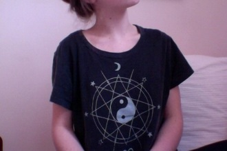 t-shirt black yin yang stars moon pentagram shirt