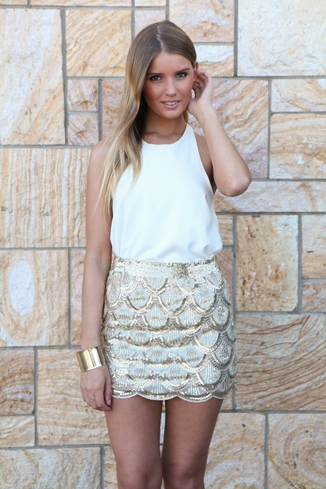 Gold Mini Skirt - Gold Scallop Sequin Mini Skirt | UsTrendy