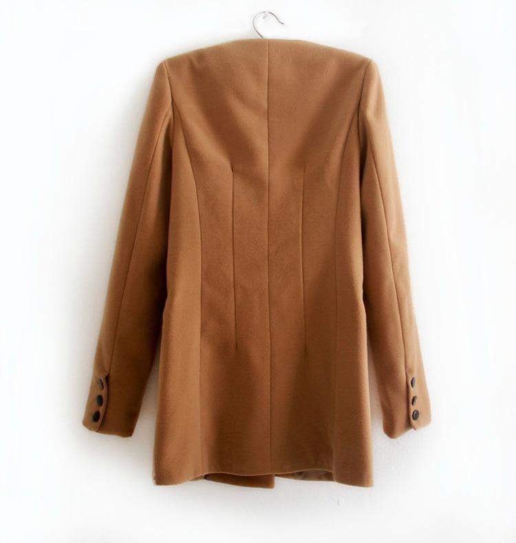New Women Solid Plain Wool Long Double Breasted Coat Jacket Top Outwear S M L   eBay