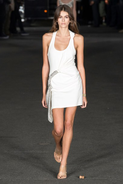 dress white white dress kaia gerber model runway nyfw 2017 ny fashion week 2017 sandals mini dress alexander wang