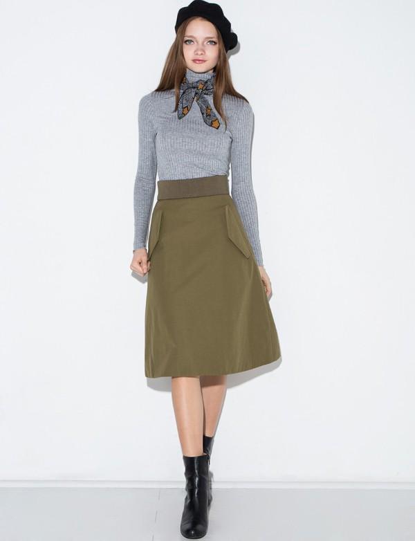 Olive Nylon Pocket Midi Skirt - Aline Midi Skirt -