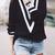 Black V-Neck Women Knitted Sweater