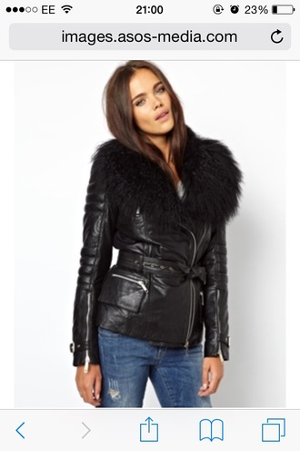 jacket leather kim kardashian s riverisland fur black long jacket coat