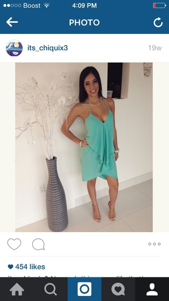 dress mint teal drape green blue turquoise dress draped dress loose dress flowy dress layered