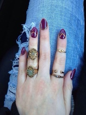 jewels,gold,ring,knuckle ring,rad,cute,indie,grunge,grunge jewelry,hipster,nail polish,jewelry,rings and tings,rings cute summer,rings & tings,rings silver,rings for 2,stone ring,gold ring,hand jewelry,accessories,Accessory,tumblr,cool,girl,summer,boho,hippie,urban,stylish,style,trendy,outfit idea,fashion inspo,blogger,fashionista
