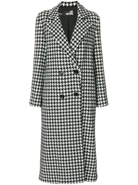 LOVE MOSCHINO coat double breasted women black wool houndstooth