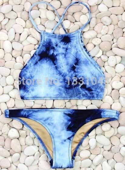 Aliexpress.com: acheter 2015 new vintage print bikini rétro cowboy maillots de bain bikini rembourré pour les femmes , sexy maillot de bain bleu teinture halter maillots de bain de maillots de bain bikini concurrence fiable fournisseurs sur little witch's shop