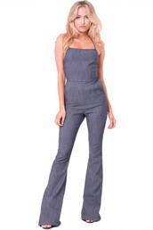 romper,the bolder shop,sleeveless,denim,flare bottom,jumpsuit,open back