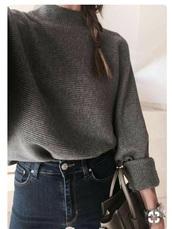 sweater,grey mock neck sweater