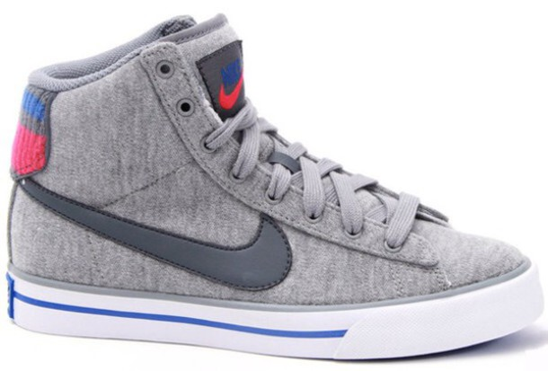 shoes grey nike high tops