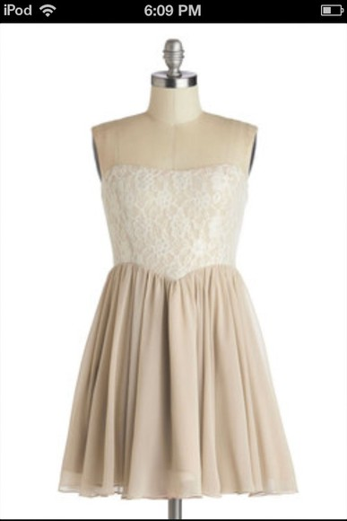 dress white dress tan dress tan lace dress white and tan lace dress, dress