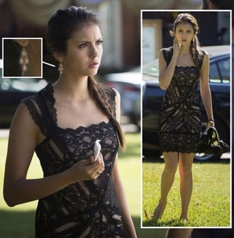 the vampire diaries vampirediariesdresses. black dress little black dress elena gilbert nina dobrev dress black short lace