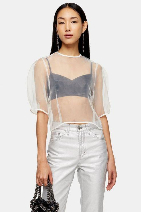 Ivory Organza Cocoon Top - Ivory