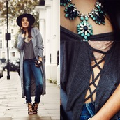 alessandra kamaile,blogger,jeans,top,jewels,bag,statement necklace,bra,grey coat,lace-up shoes,lace up top